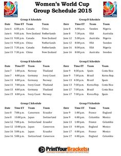 Printable 2015 Women's World Cup Group Schedule