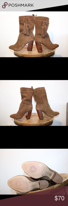 NWOT Vince Camuto Camel Suede Boots Perfect condition. Never worn outside of the store. Please note photos were taken with a high resolution camera so things that may look like flaws are just lighting and resolution. I disclose all issues within the item description. Vince Camuto Shoes Heeled Boots