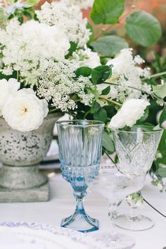 Vintage blue glassware - table scape inspiration for your wedding reception | Serenity Pantone Color of the Year 2016