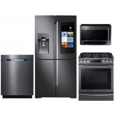 """Save a lot of money at www.DiscountBandit.com. Seriously, check them out; they have the best deals on tons of stuff! Samsung Black Stainless Steel 4-Piece Kitchen Package With RF28K9580SG 36"""" Family Hub French Door Refrigerator NX58K9500WG 30"""" Slide-in Gas Range DW80J7550UG 24"""" Built In Dishwasher ME21H706MQG Ove"""