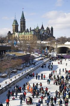 Skating on the Rideau Canal, Ottawa, Ontario. Canada. World longest skating rink in the world
