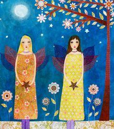 Moonlight Fairies Painting Art Print Block Best Friend Sister Art Block. $14.99, via Etsy.