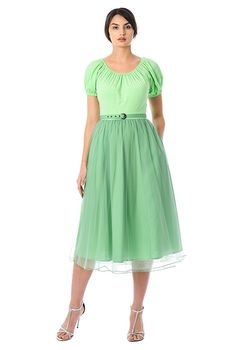 Cotton knit and ruched pleat tulle belted dress-CL0056497