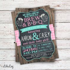 Brew & BaByQ BBQ Baby Shower Invitation - Beer and Babies - Custom Order - Printable or Printed - Mint, Pink, White, Chalkboard, Rustic
