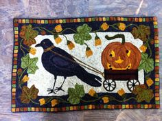 Hooked by Diane Tanerillo pattern by Nancy Jewett Halloween Pumpkins, Fall Halloween, Hook Punch, Country Sampler, Crow's Nest, Hand Hooked Rugs, Floor Cloth, Wool Art, Penny Rugs