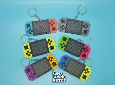 Nintendo Switch Keychains Perler Keychains Video Game Keychains Custom Made Party Favors Keychains Gamers Birthday Party Famous Last Words Perler Bead Designs, Easy Perler Bead Patterns, Melty Bead Patterns, Perler Bead Templates, Hama Beads Design, Beading Patterns, Disney Hama Beads Pattern, Peyote Patterns, Knitting Patterns