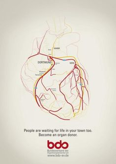"Organ Donation Appeal: ""HEART"" Outdoor Advert by Kolle Rebbe Werbeagentur"