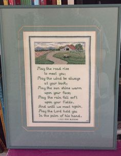 Irish Blessing Cross Stitch Finished Framed Complete May The Road Ireland  | eBay