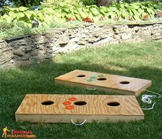 We call it Texas horseshoes, they call it Three hole washers game.  I guess that makes more sense.