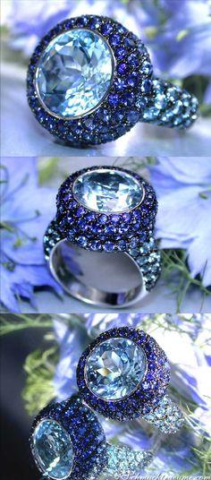 Gorgeous: Huge Sapphire Blue Topaz Ring, 12,76 cts. WG-18K -- Find out: schmucktraeume.com -- Like: https://www.facebook.com/pages/Noble-Juwelen/150871984924926 -- Contact: info@schmucktraeume.com
