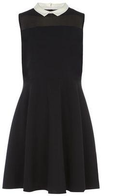 Black Skater Dress with Collar