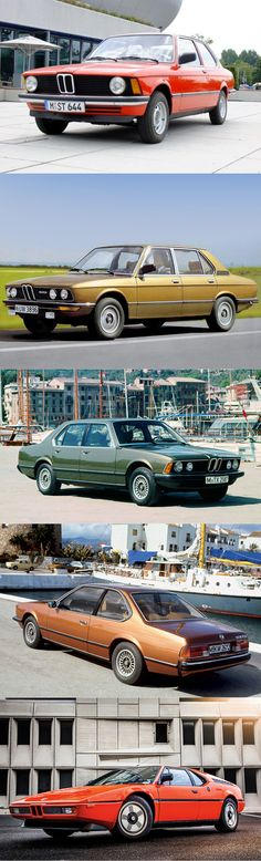 1980 BMW line-up / 3-serie E21 / 5-serie E12 / 7-serie E23 / 6-serie E24 / M1 E26 / Germany / #yearlist
