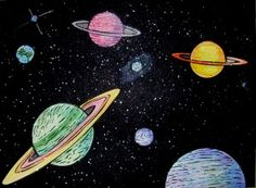 Super outer space art projects for kids children ideas Galaxy Drawings, Space Drawings, Chalk Drawings, Art Drawings, Drawing Art, Crayon Drawings, Art Lessons For Kids, Art Lessons Elementary, Art For Kids