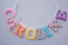 Rainbow fabric letters,girl's room name sign,Fabric name banner,name wall decor,Name Wall Art, nursery letters,rainbow nursery Fabric Letters, Fabric Bunting, Fabric Names, Bunting Banner, Name Wall Decor, Name Wall Art, Nursery Banner, Nursery Letters, Pink And Gray Nursery