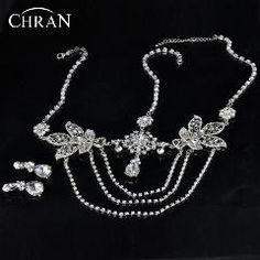 [ 30% OFF ] Chran Silver Tone Bridal Rhinestone Forehead Band Dangle Headdress Head Chain Topknot Tikka Deco Headpiece Hair Jewelry Hdc2023