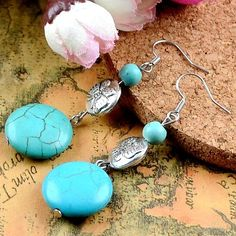 """Butterfly Earrings Beautiful Faux Turquoise Butterfly Earrings 🔸 Length: 2"""" 🔸 Material: Tibet Silver (not real silver) 🔸 Condition: New 🔸 🚫No Trades 🚫No Holds 🚫No PayPal Jewelry Earrings"""