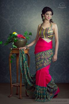 Today's women are a blend of both tradition and fashion, just like this kanchipuram silk saree with cutwork. :)