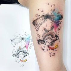 Best Harry Potter tattoo with watercolor elements Hp Tattoo, Book Tattoo, New Tattoos, Body Art Tattoos, Sleeve Tattoos, Tattoos For Guys, Tatoos, Hogwarts Tattoo, Silver Tattoo