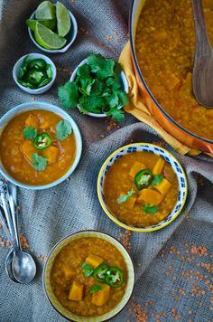 Coconut, squash and red lentil soup