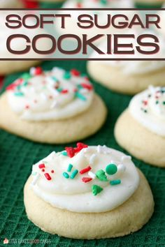 If you're looking for the BEST Soft Sugar Cookies - look no further! They're perfect for the holiday season, birthdays, or any time you want a sweet treat! Cookie Dough Vegan, Soft Sugar Cookie Recipe, Chewy Sugar Cookies, Christmas Sugar Cookies, Yummy Cookies, Christmas Desserts, Christmas Baking, Chocolate Chip Cookies, Cookies Et Biscuits