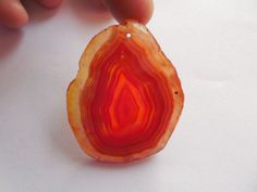 1MM Hole Orange Natural Druzy Geode Agate Slice Freefrom Pendant Bead 49x39x6mm