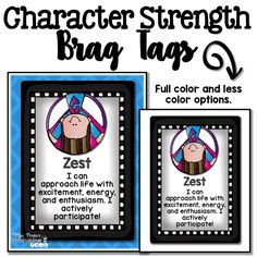 Character Strength Brag Tags: Full color and less color version.