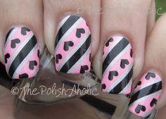 Hearts and stripes nails Fabulous Nails, Gorgeous Nails, Love Nails, Pretty Nails, Perfect Nails, Heart Nail Art, Heart Nails, Nailart, Valentine Nail Art