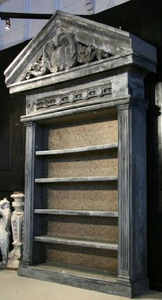 Monumental Neoclassical style Zinc Bookcase from Sarlo