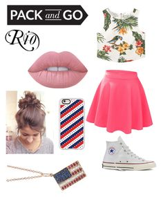 """Rio 2016 contest entry! Go America!"" by daniandre13 ❤ liked on Polyvore featuring MANGO, LE3NO, Converse, Lime Crime, Casetify and Sydney Evan"