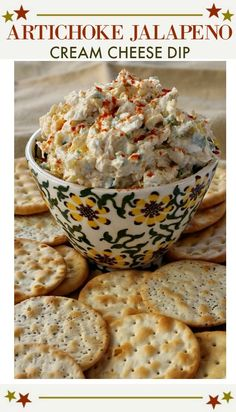 Easy party appetizer recipe. Jalapeno, artichoke dip. With cream cheese, just add crackers for a great football food, finger food idea. #easy #jalapeno #dip #hot #recipe via @lannisam