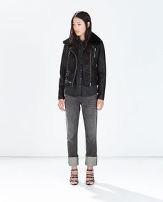 Zara Faux Leather Jacket with Detachable Fur Collar