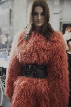 Red fur and black belt backstage at Philipp Plein AW15 MFW #midlength #brunette