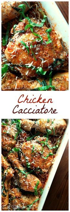 Chicken Cacciatore! This recipe can be made in the oven or crock pot! The chicken just falls off the bone after it stews in the rich tomato sauce.