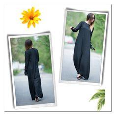 """Drop Crotch Wide Black Cotton Jumpsuit, Plus size Maxi Drop Crotch"" by eug-fashion ❤ liked on Polyvore"