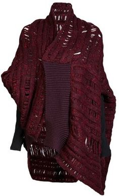 ShopStyle: Alessandra Marchi Oversized cardigan Knitwear Fashion, Knit Fashion, What Should I Wear Today, Sweater Scarf, Knitted Coat, Oversized Cardigan, Lace Embroidery, Wool Sweaters, Bordeaux