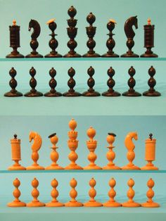 Biedermeier Boxwood Playing Set, Circa 1870-1900  Fine turned & carved chess set one side boxwood the other side ebonised. Kings with double galleries, queens with single, pieces with opposing color to rooks flags and bishops miters.