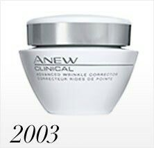 2003  Anew Clinical launches! Its first product, Line & Wrinkle Corrector, hits brochures. The Line & Wrinkle Corrector plumps the look of fine lines and wrinkles. The Clinical line allows women to get great results at home and thus became a global best seller