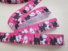 """1/"""" 25mm 1m New Marie Cat The Aristocats Pink White Printed Grosgrain Ribbon"""