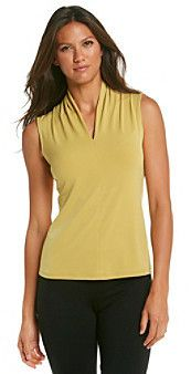 EvanPicone Evan-Picone® Sleeveless V-Neck Solid Knit Top on shopstyle.com ($24.98)