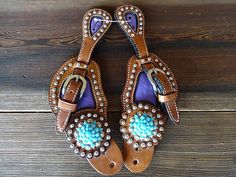 TURQUOISE PURPLE OSTRICH ALL LEATHER WESTERN HORSE COWBOY RODEO SHOW SPUR STRAPS