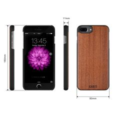 iCASEIT iPhone 8 Plus Wood Case - Premium Finish Unique Cases - Lightweight Natural Wooden Hybrid Snap-on Protective Cover for iPhone 7 & 8 Plus - - Walnut Iphone 7 Plus Cases, Apple Watch, Projects To Try, Wood, Stuff To Buy, Places, Bamboo, Cherry, Phone Case