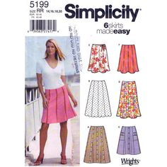 Womens+Skirt+Pattern+Simplicity+5199+Six+Easy+Gored+Skirts+Two+Lengths+Scalloped+Hem+Size+14+to+20+UNCUT