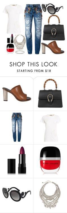 """""""Monday Mornings"""" by shopunder ❤ liked on Polyvore featuring CÉLINE, Gucci, Dolce&Gabbana, Serge Lutens, Marc Jacobs, Prada, DYLANLEX and Jennifer Meyer Jewelry"""