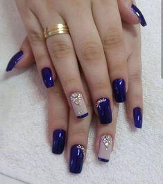 Fancy nails, pretty nails, creative nails, blue and silver nails, cobalt blue Blue And Silver Nails, Blue Nails, New Nail Designs, Acrylic Nail Designs, Acrylic Art, Stylish Nails, Trendy Nails, Super Nails, Fancy Nails