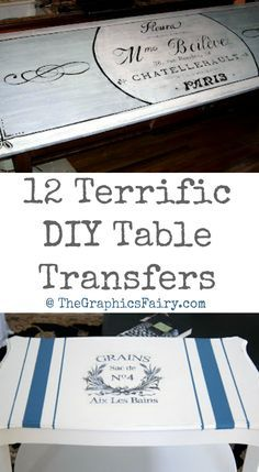 12 Terrific DIY Table Transfers - Painted Furniture projects.