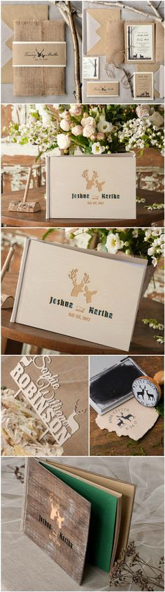 Deers in love ! Get all matching stationery & more with your wedding theme #rustic #deers #weddingideas #rusticwedding #eco #boho #unique #wedding #invitations #guestbook #weddingtheme