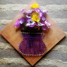 Purple flower vase string art