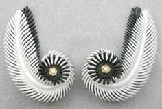 Black & White Plastic Feather Earrings - Garden Party Collection Vintage Jewelry