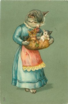mother cat in blue dress, red apron, holding basket containing four kittens