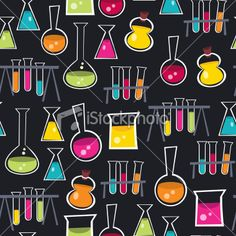 Science Beakers and Test Tubes Seamless Pattern Background Royalty Free Stock Vector Art Illustration
